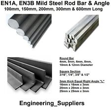 EN1A, EN3B Bright Mild Steel Bar Round Square & Right Angle 100mm to 600mm Long