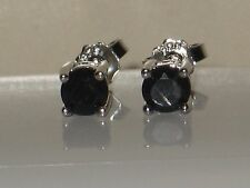 GENUINE NATURAL SAPPHIRE STUD STYLE EARRINGS    1/2 CTW  .925 STERLING SILVER