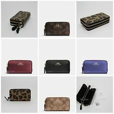 New Coach Small Double Zip Coin Case F56517 F63975 Signature And Leather NWT