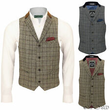 Mens Vintage Waistcoat Herringbone Tweed Check Velvet Collar Retro Formal Vest