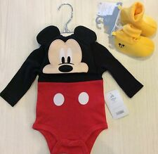 Disney Store Mickey Mouse Baby Boy 0 3 6 9 12 Costume Bodysuit Hat Slippers
