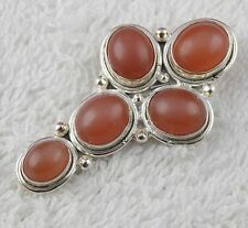 Natural Peach Moonstone Gemstone 925 Sterling Silver Party Wear Women Pendant