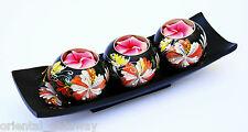 Thai Style 3 Painted Wooden Ball Candle Holders With Matching Trays