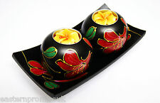 Hand Painted Thai Style 2 Wooden Balls Candle Holders With Matching Wooden Trays