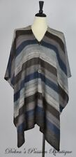 One Size Pullover Fall Poncho Buttons Front - Brown Taupe Blue
