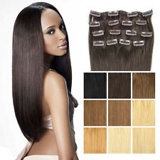 "16""18""20""22"" 100% Real Human Hair Full Head Clip in Remy Hair Extensions"