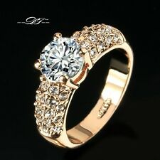 Engagement Wedding Party Ring CZ Zirconia Crystal 18K Rose Gold Plated Fashion