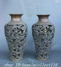 "14"" Chinese Dynasty Palace Copper Bronze Nine Dragon Beast Statue Vase Pot Pair"