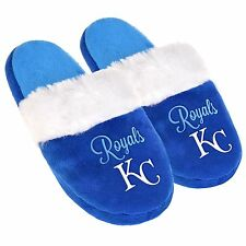 KC Kansas City Royals Womens Colorblock Fur Slide Slippers MLB New Style