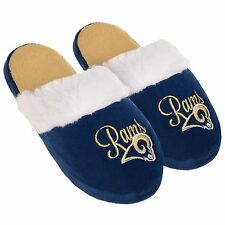 LA Los Angeles Rams Womens Colorblock Fur Slide Slippers NFL New Style