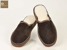 Brown Tobacco mens fur sheepskin mule slippers. Suede leather and merinos wool.