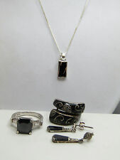 Lot of Sterling Silver Jewelry Black Color Enamel Stones Marcasite Rings Size 7