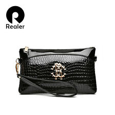 REALER WOMEN CLUTCH BAG CROCODILE PATTERN SHOULDER MESSENGER EVENING FASHION PU