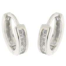 Front Decorated 1 Rows White CZ 925 Sterling Silver Huggie Hoop Earrings FS