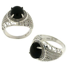 925 Sterling Silver Design Oval Shaped Black And White CZ  Mens Ring FS