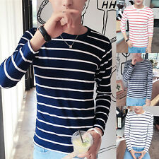 Mens Stripe T-shirt Long Sleeve Casual Tops Crew Neck Slim Fit Cotton Basic Tee