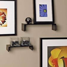 Wall Mount Shelves Storage Display Floating Thin Shelf Modern Decor 2 Pc Set
