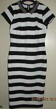 Marks And Spencer Black & White Stripe Body Con Dress Size 8