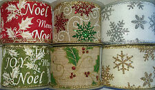 10 Yard Reel Wired Christmas Glitter Ribbon 63mm width Crafts Decorations