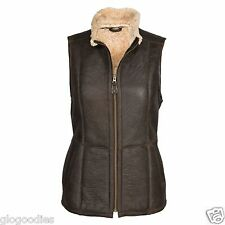 "Ladies ""Gilly"" Gilet Leather Sheepskin Coat - Chocolate"