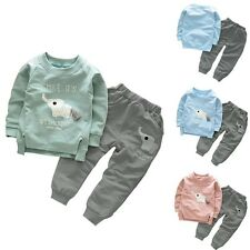 2PCS Kids Elephant Baby Girls Boys Long Sleeve Tops T-Shirt+Pants Suit Outfits