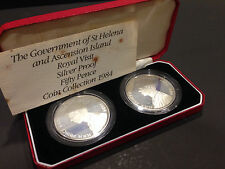 1984 ST HELENA AND ASCENSION ISLAND ROYAL VISIT SILVER PROOF 50 PENCE COIN SET