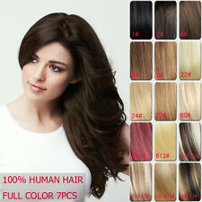 Clip in 100% Human Hair Extension 24inch 60cm 100g 120g 140g Thick Set  7pcs