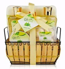 Spa Gift Basket with Rejuvenating Green Tea Fragrance in a Cute Bamboo Basket