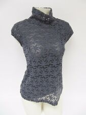 Women's Only Hearts Gray Stretch Lace Cap Sleeve Mock Turtleneck Top Small