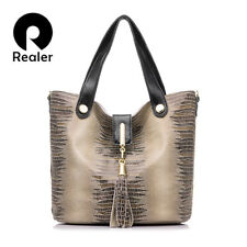 GENUINE LEATHER HANDBAG SERPENTINE TOTE FEMALE TASSEL SHOULDER WOMEN RHNWB0828