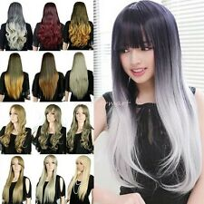 Womens Lady Long Full Wigs Natural Curly Wavy Straight Soft Fringe Bangs Wig #P4