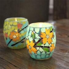 Handcrafted Mosaic Glass Pastorale Flowers Candlestick Candle Holder Candelabra