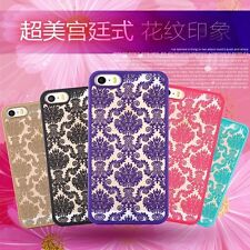 Iphone 7 Plus Cases Clear Palace Flower Pattern Slim Hard PC Back Phone Case For