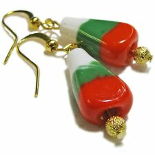 Christmas Lampwork Glass Candy Corn Bead Earrings By SoniaMcD