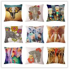 Fashion Colorful Elephant Printed Modern Minimalist Linen Cotton Cushion