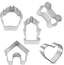 5 Piece Mini Dog Treat Cookie Cutter Set Bone Paw House NEW!