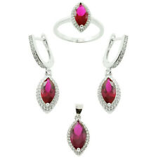 925 Sterling Silver Red Ruby and White CZ Marquise Cut MicroSetting Jewelry Set