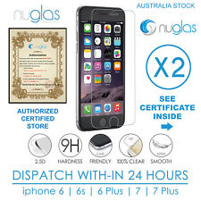 2x Genuine NUGLAS Tempered Glass Screen Protector For iphone 7 6 6s Plus Lot