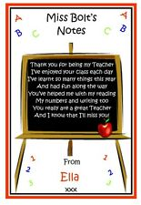Personalised Notepad Notebook Teacher Teaching Assistant Blackboard -Thank you