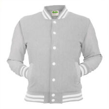 Heather Grey College Jacket Letterman Coat Baseball American Varsity Clothing