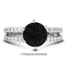 1.87ct Black Ideal Round Natural Diamond 14kw Split Band Engagement Ring 7.82mm