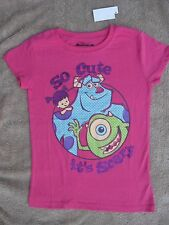 Disney Monsters Inc Mike Boo Scully Pink T Shirt Girls Size 10/12 NEW
