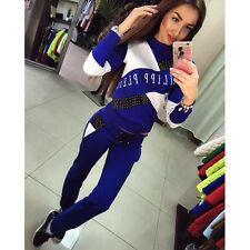 New Women's 2Pcs Casual Sport Tops Sweatshirt Track Pants Sweat Suits Tracksuit