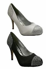 Ladies Platform Diamante High Heel Sandals Womens Evening Court Shoes Size