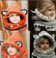 Winter Beanie Baby Child Animal Warm Fox Hat Hooded Scarf Earflap Knit Caps Wool