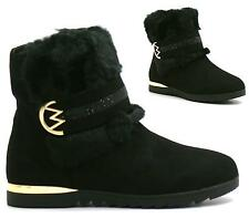 WOMENS FLAT FUR ANKLE BOOTS LADIES GOLD TRIM ZIP FASHION CASUAL SHOES