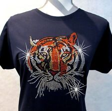 Rhinestone T-Shirt Tiger LAT Ringspun Cotton Short Sleeve Bling Shirt Sparkle