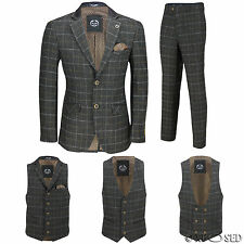 Men Tweed Check 3 Piece Suit Blazer Trouser Waistcoat Sold as Tailored Separates
