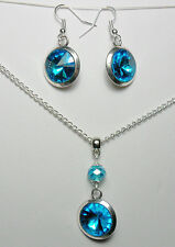 Aqua Blue round glass, choose earrings, necklace, both