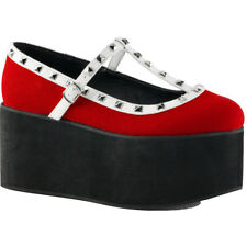 Demonia CLICK-07 Platform Two Tone T-Strap Shoe Red/White Punk Goth